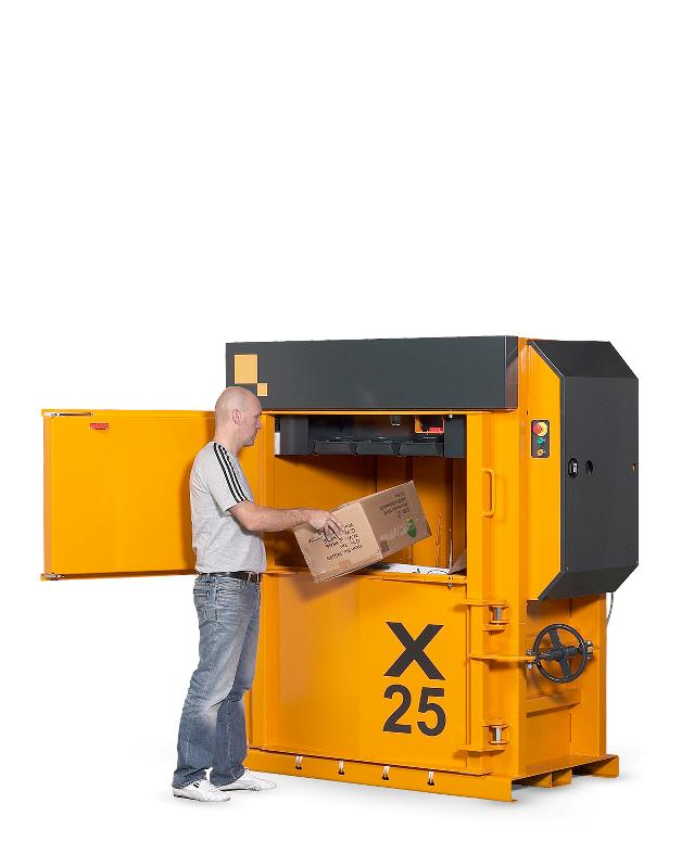 Strong durable baler for compaction of cardboard waste