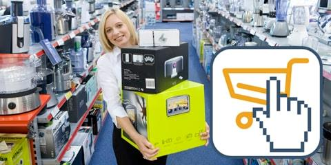 Female employee carrying boxes between shelves with kitchen appliances