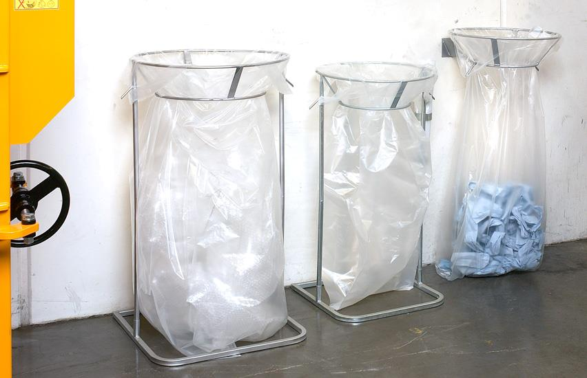 Three recycling racks in a row