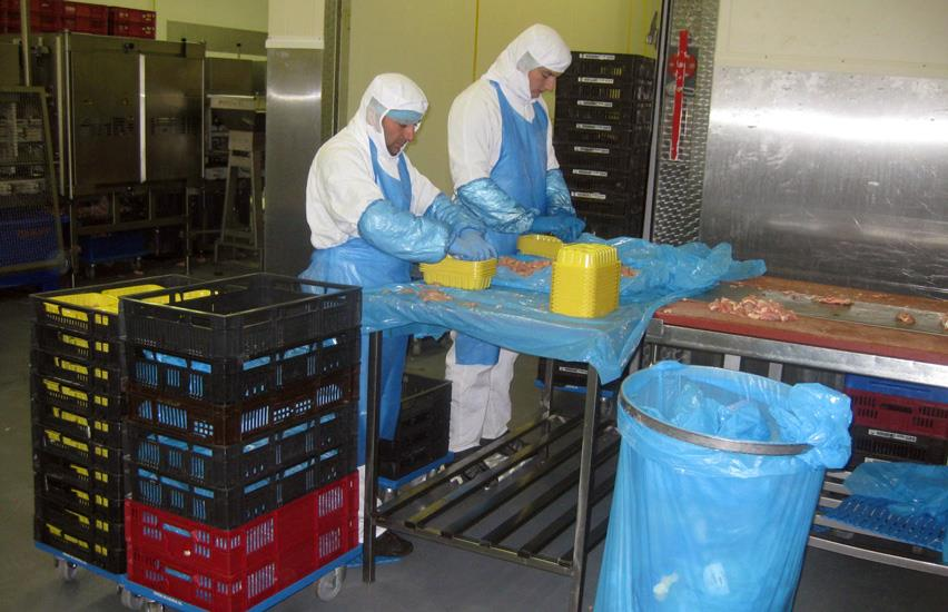 Two employees from Scheria cut chicken pieces and pack them