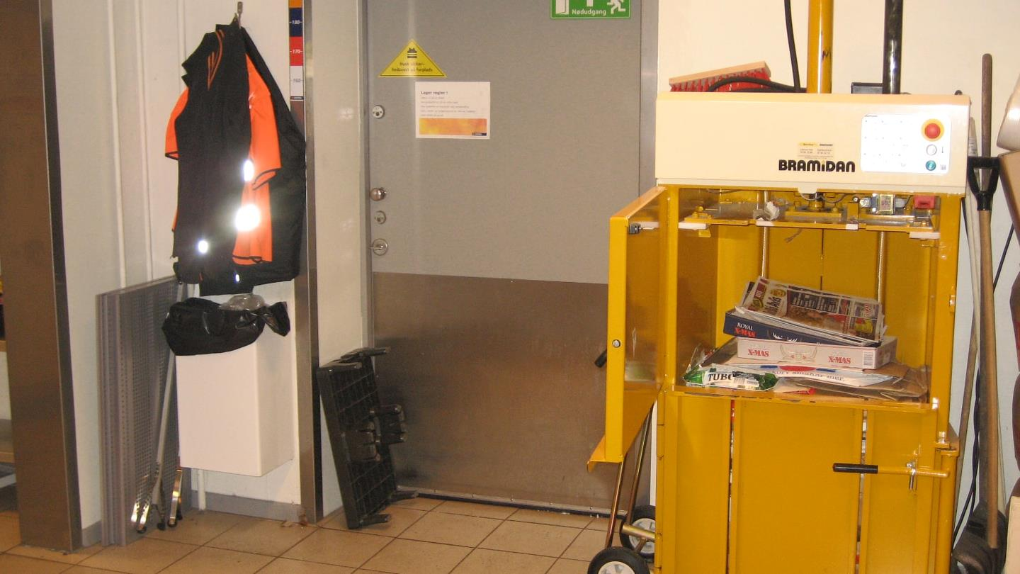 Bramidan baler B3 in storage room of Statoil petrol station