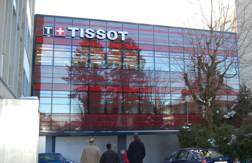 Large glass section in headquarters of the Swiss watch manufacturer Tissot