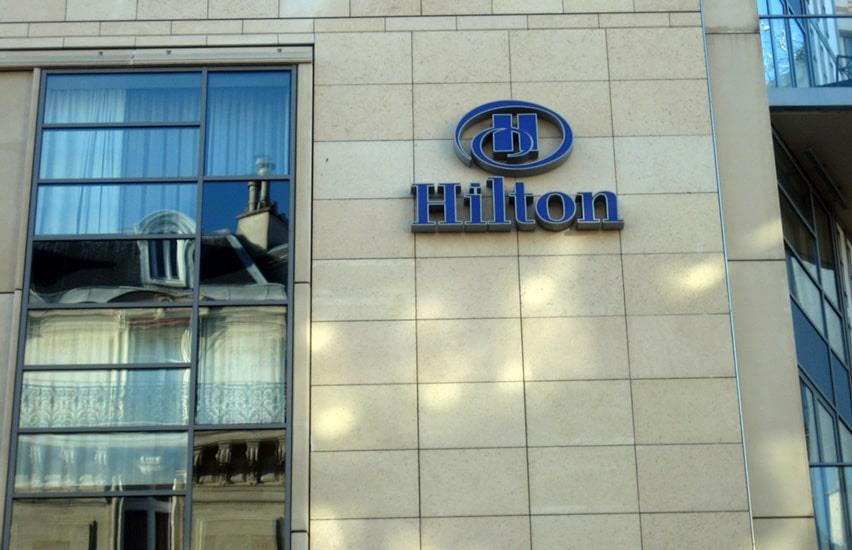 Windows and main building of the luxurious Hilton Hotel in Paris