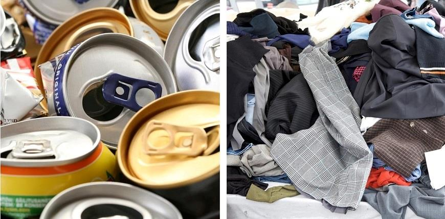 Empty aluminium cans and clothes