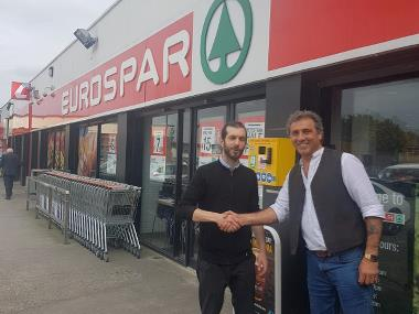 Shop Manager Niall and Sales Manager Paul in front of Eurospar store in Kinsealy